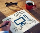 Businessman Brainstorming About Computer Network — Foto de Stock