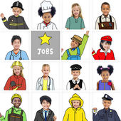 Multiethnic group of Children with Various Jobs Concepts — Stockfoto