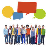 Group of People and Speech Bubbles — Stock Photo