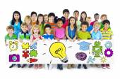 Group of Children Holding Education Concept Billboard — Stock Photo
