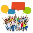 Multiethnic Cheerful People Celebrating with Speech Bubbles — Stock Photo #52470441