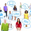 People connected through social media — Stock Photo #52470585