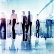 Silhouettes of Business People in Blurred Motion Walking — Stock Photo #52470967