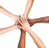 People Stacking Their Hands Together — Stock Photo