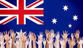 Multi-Ethnic Arms and Austrailian Flag — Stock Photo