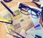 Messy Architect's Table — Stock Photo