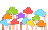 People Holding Cloud Symbols — Stock Photo