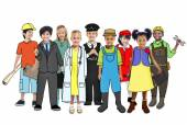 Multiethnic Group of People with Various Occupations Concept — Stockfoto