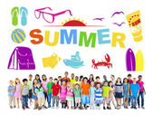 Group of Multiethnic Children with Summer Concept — Stock Photo