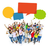 Multiethnic Cheerful People Celebrating with Speech Bubbles — Stock Photo