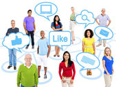 People connected through social media — Stock Photo
