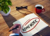 Businessman Brainstorming About Homework — Stockfoto