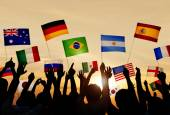 People Holding Flags of Various Countries — Stock Photo