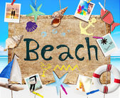 Beach Signboard with Summer Objects — Stock Photo
