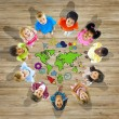 Multiethnic Group of Children with World Map — Stock Photo #59928467
