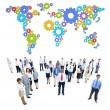 Business People and world map — Stock Photo #59928895