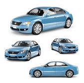 Modrá auta — Stock fotografie