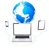 Mobile, laptop and tablet — Stok fotoğraf