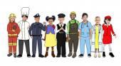 Children Standing with Variation Uniform — Stock Photo