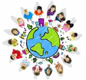 Kids around the globe — Stock Photo