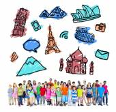 Children with Travel Destinations symbols — Stock Photo