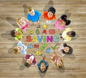 Children with Saving Concept — Stockfoto