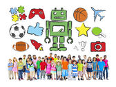 Multiethnic group of Children with Activities — Stock Photo