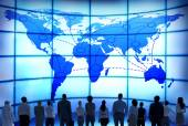 Business People with World Map — Foto de Stock