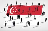 Business people and Singapore flag — Stock Photo