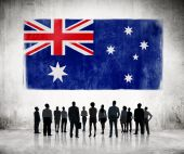 Business People Looking at Australian Flag — Foto Stock