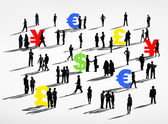 Business people and world Currencies — Stock Photo