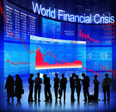 People Discussion about World Finance Crisis — Stock Photo