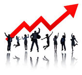 Business people celebrated for growth graph — Stock Photo