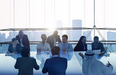 Business People Meeting with Cityscape — Stock Photo