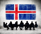 Business People with Icelandic Flag — Stock Photo