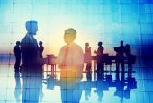 Silhouette Global Business People Meeting — Stock Photo