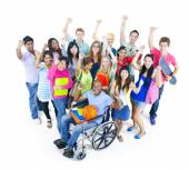Group of Students raised hands — Stock Photo