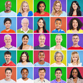 Colourful Grid with facial expressions — Stock Photo