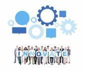 People Holding Placards Forming Innovate — Stock Photo