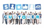 People Holding word Customer — Stock Photo