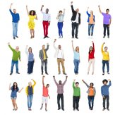 Multi-Ethnic Group of People Arms Raised — Stock Photo