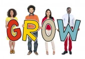 DIverse People Holding Text Grow — Stock Photo