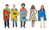 DIverse People Holding Text Dream — Foto Stock