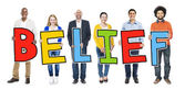 People Holding Letter Belief — Stock Photo