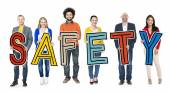 Group of People Holding Text Safety — Stock Photo
