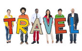 Group of People Holding Text Travel — Stock Photo