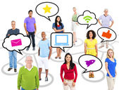 People Standing with Speech Bubbles — Stock Photo