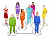 People Standing In Circle Which Connects — Stock Photo