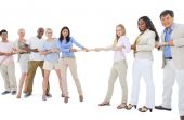 Large Group of People Pulling Rope — Stock Photo