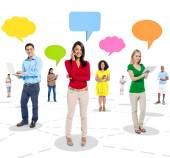 People Connected and Speech Bubbles — Foto de Stock